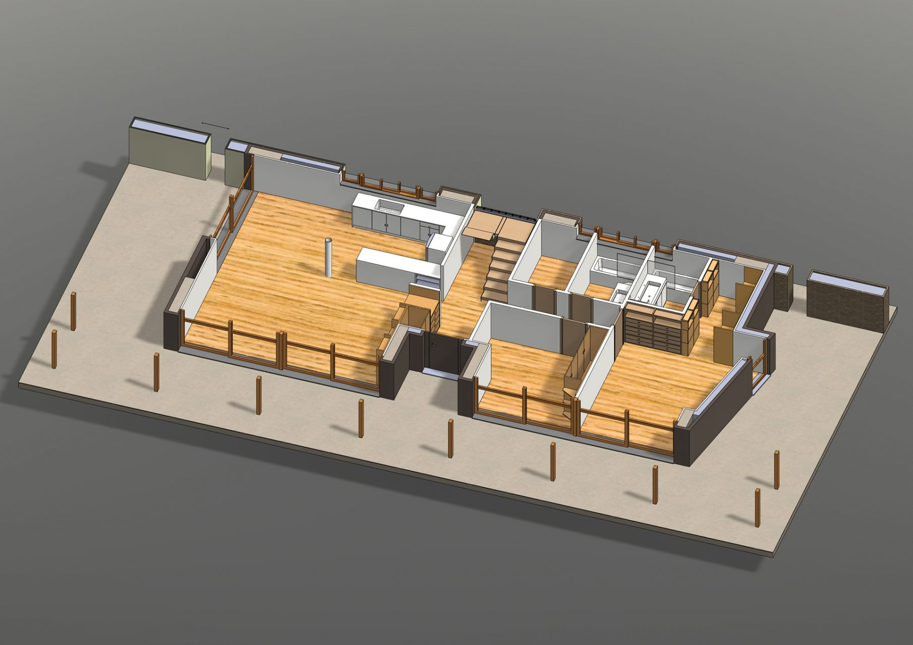 KL HOUSE 05 - axonometric plan in horizontally sectioned model F