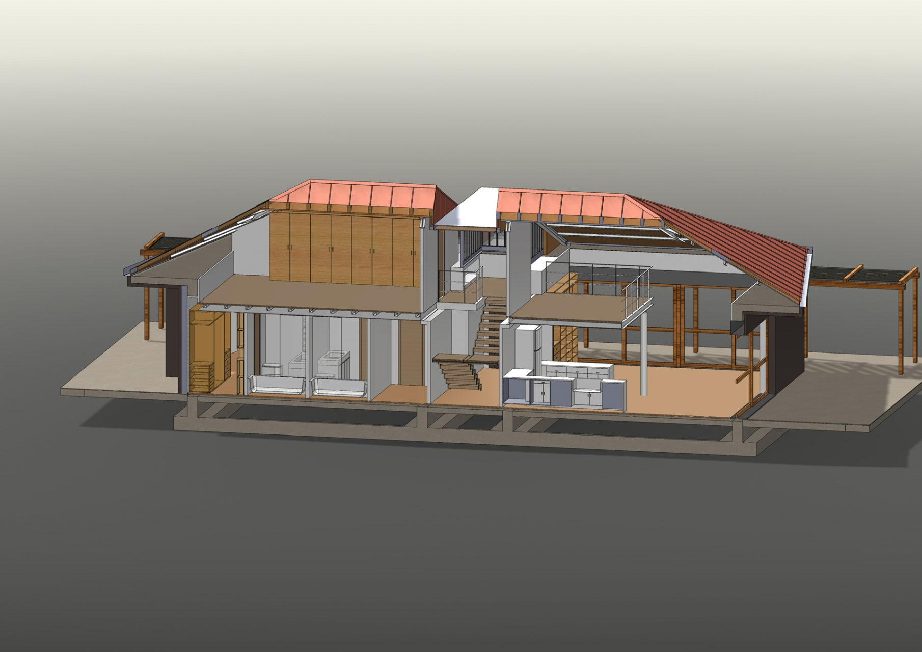 KL HOUSE 09 - axonometric view sectioned model - longwise