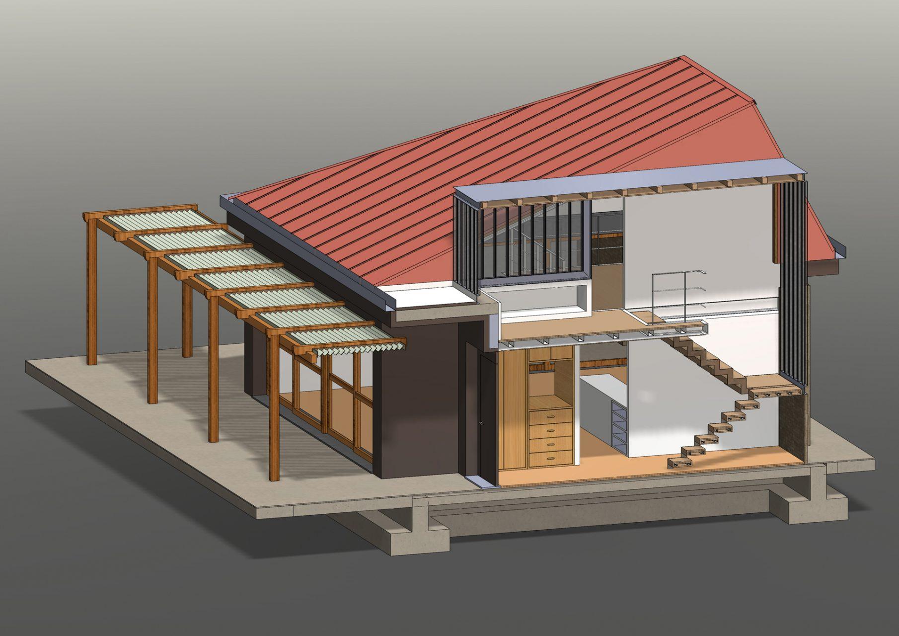 KL HOUSE 11 - axonometric section - thru staircase F