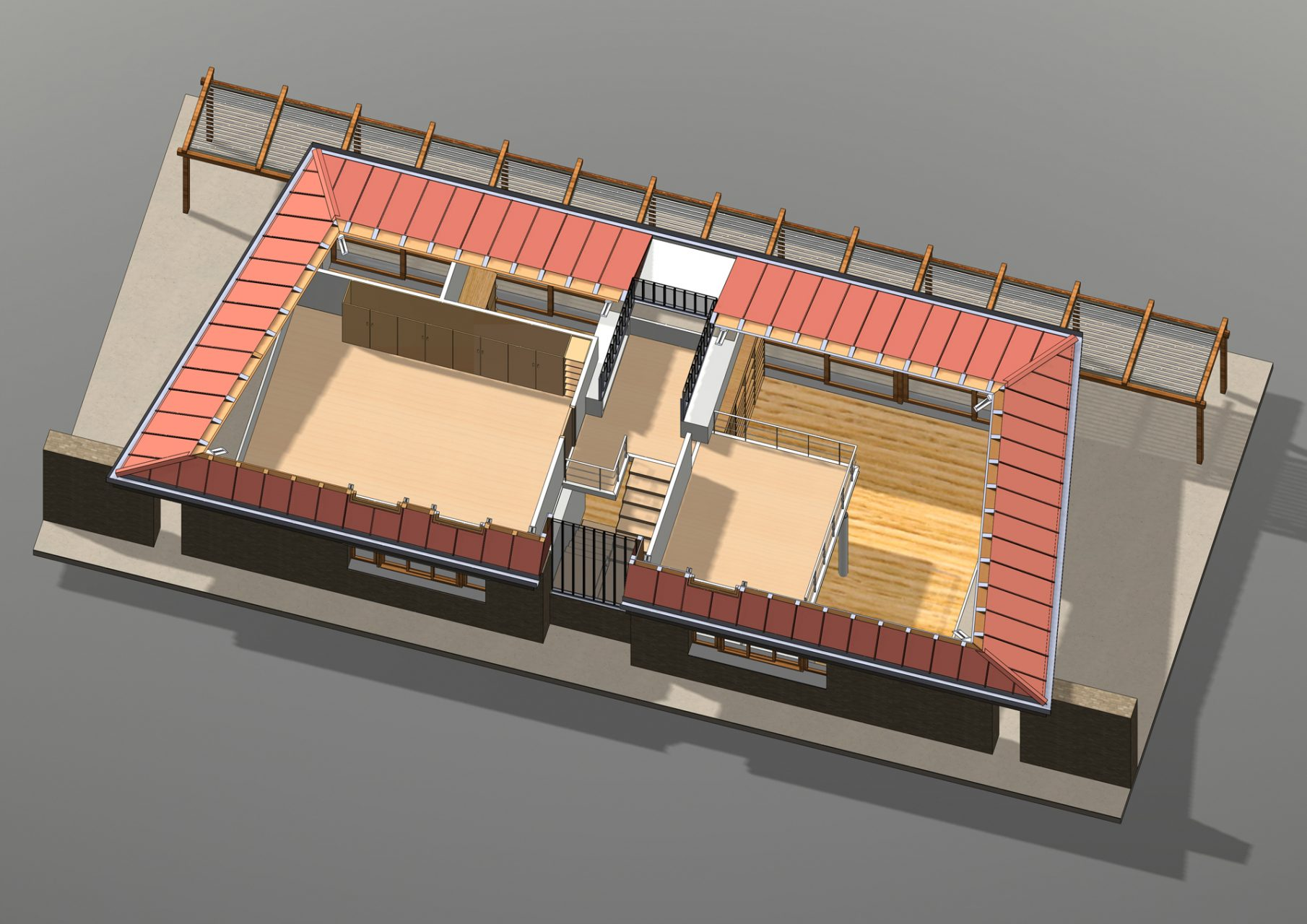 KL HOUSE 12 - axonometric plan - first floor - sectioned model F