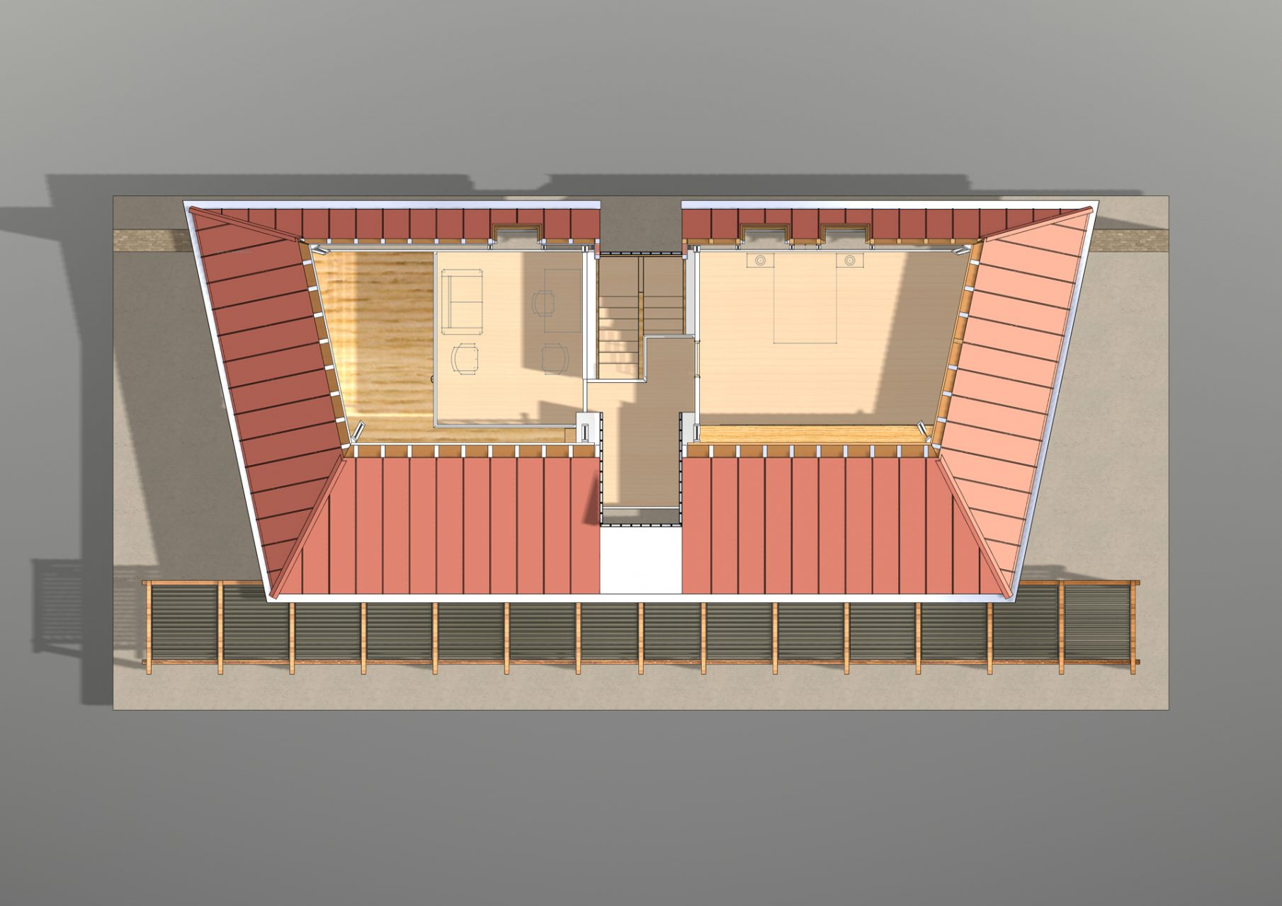 KL HOUSE 13 - plan - first floor - sectioned model with 2d furniture proposal