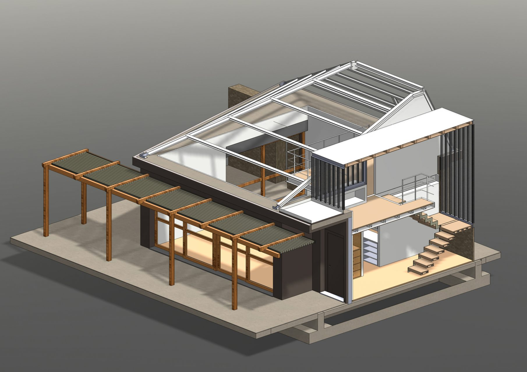 KL HOUSE 16 - axonometric section featuring & roof METAL STRUCTURE F